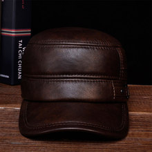 HL064  Men winter warm army hat adjustable ear flat black brown cap / Aorice Cow Leather Flat Peak Baseball Cap