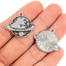 TJP 10 pcs Antique Silver Tone Mercury Earth Planet Round Charm Pendants for Necklace Jewelry Making Findings