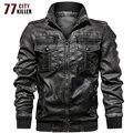 77 City Killer дропшиппинг куртка из искусственной кожи Мужская ветровка мотоциклетная искусственная кожа пальто мужские европейские размеры с ...