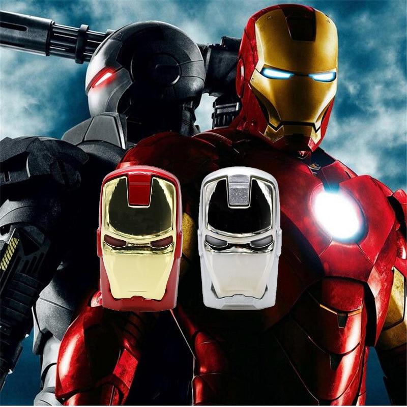 Capacidad verdadera del usb flash drive 4 GB 8 GB 16 GB 32 GB 64 GB Avengers marvel iron man con luz pen drive memory stick USB pendrive