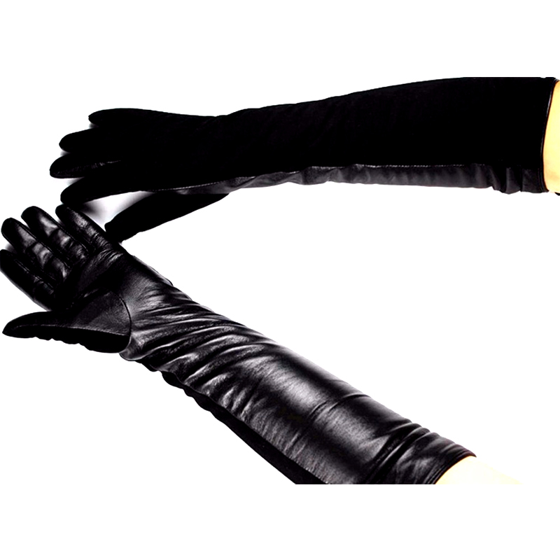 Winter <font><b>Gloves</b></font> Long Leather <font><b>Gloves</b></font> Female Sheepskin <font><b>Glove</b></font> Over Elbow Length Straight Style Suede Velvet Lining Free Shipping