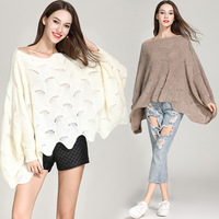 2019 Loose Women Sweaters Fashion Knit Pullover Autumn Winter Tops Bat Long Sleeve Woman Clothes Hollow Hook Flower Sexy Sweater