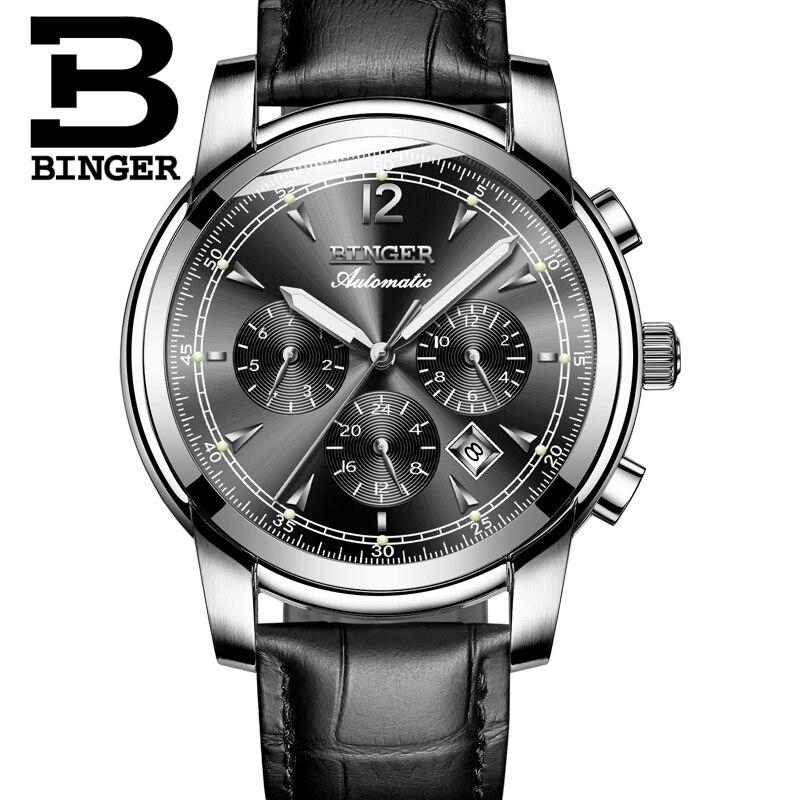 Image 3 - Switzerland Automatic Mechanical Watch Men Binger Luxury Brand  Watches Male Sapphire clock Waterproof reloj hombre B1178  20hombrehombre reloj