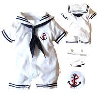 Navy Style Baby Romper Summer Cotton Tie Baby Boy Rompers Kids Navy Overall Sailor Style Baby