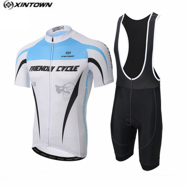 2017 XINTOWN White blue Bike Jersey bib shorts set Men Cycling Clothing  bicycle Top Bottom Suit Ropa Ciclismo maillot MTB blouse 9e53856b1