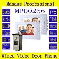 D256b Hot Sale 7 Color Video Intercom 1V2 Door Phone System With 2 White Monitors 1 RFID Card Reader Doorbell 1000TVL HD Camera