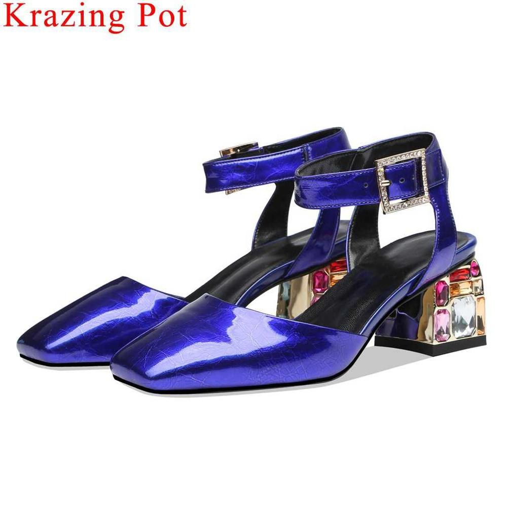 Superstars cow patent leather square toe buckle strap high heels women sandals plus size slingback colorful crystals shoes L69Superstars cow patent leather square toe buckle strap high heels women sandals plus size slingback colorful crystals shoes L69