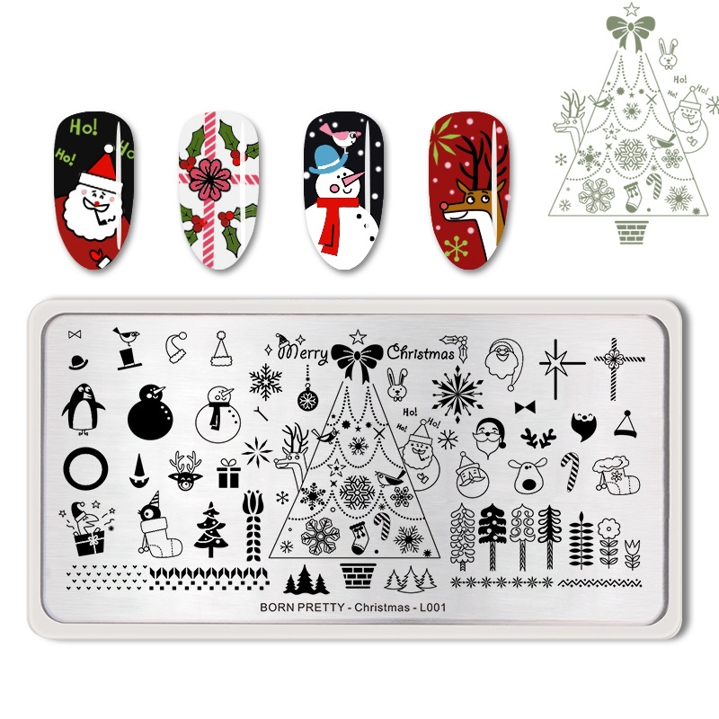 fashion christmas nail stamping plate snowman polar bear. Black Bedroom Furniture Sets. Home Design Ideas