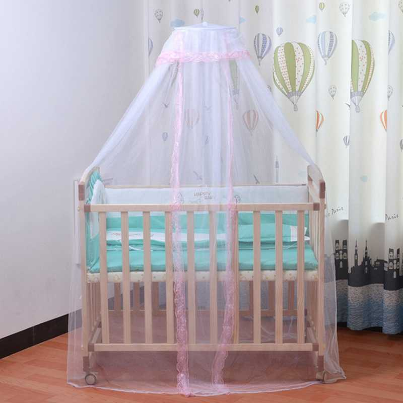 Royal Court Style Kids Bed Mosquito Net Mesh with Lace Foldable Breathable Bedding Dome Bed Canopy for Toddler Crib Bedcover