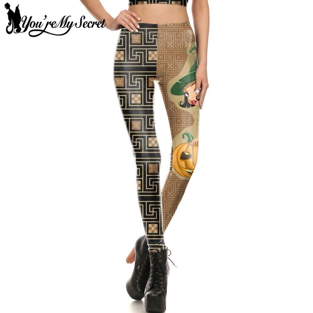 [You're My Secret] New Halloween Pumpkin And Gagic Girl Style 3d Digital Printing Cartton Cosplay Women Leggings Workout Pants