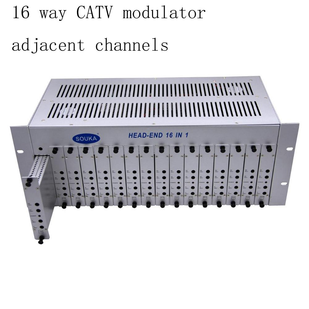 SK-16M 16 in 1 catv headend adjacent modulator CATV modulator for hotel/school/dormitory RF catv modulator free shipping fmuser futv4443b 4 in 1 mux scrambling qam modulator optional 4 asi tuner in 4 rf out adapting catv system