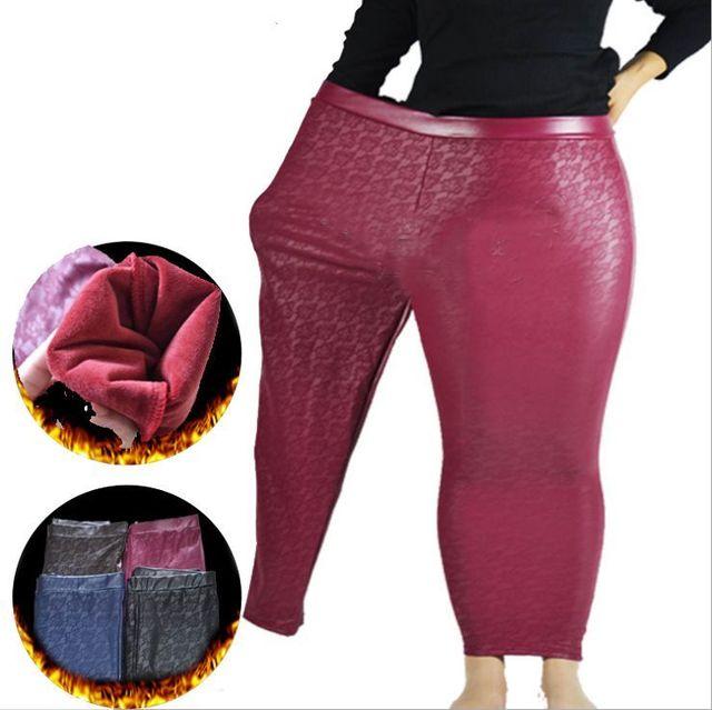4 Colors Sexy Women Plus Size 2xl 3xl 4x 5x Black Leather Trousers