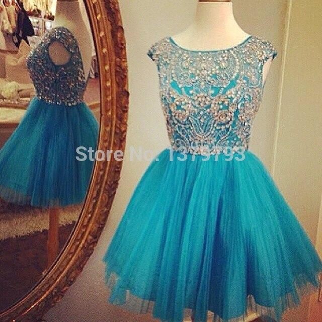 Vestidos cortos azul turquesa con plata