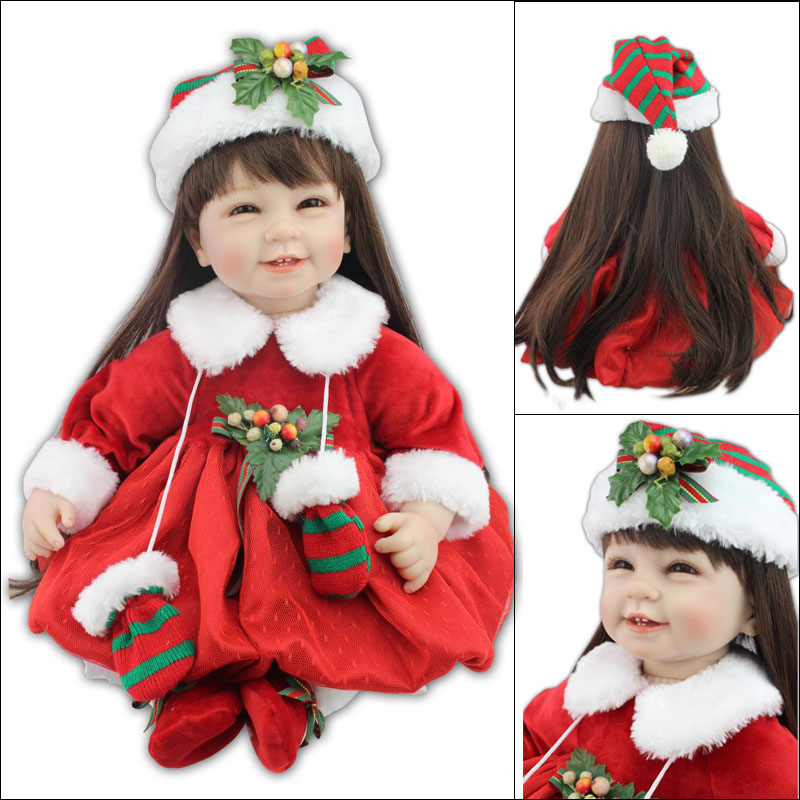 NPK COLLECTION 55cm New body silicone reborn dolls lifelike girl doll reborn Toy Red christmas costume children gift bebe alive
