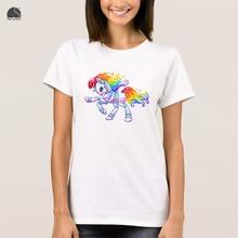EnjoytheSpirit Ladies Short Sleeve T-shirt My Little Robot Unicorn By Monstoner Women's White T Shirt Summer Casual Printed Tops