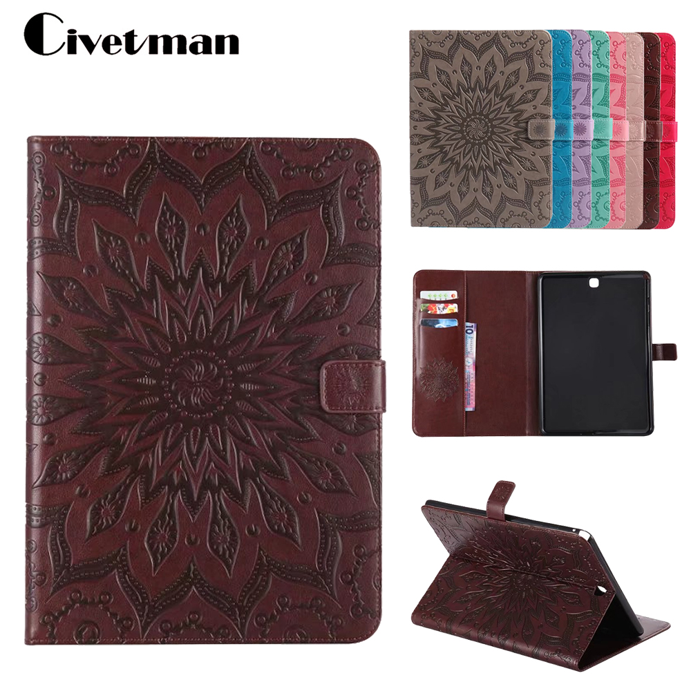 Luxury Embossing Case For Samsung Galaxy Tab A 9.7 Inch SM-T555 T550 PU Leather Stand Flip SM-T550 Tablet Protective Cover