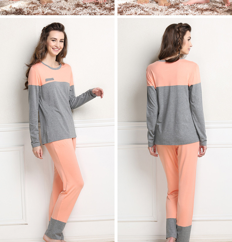 Spring Couples Casual Patchwork Pajama Sets Women Modal Sleepwear Suit Female Long Sleeve Round Collar T Shirt + Pants