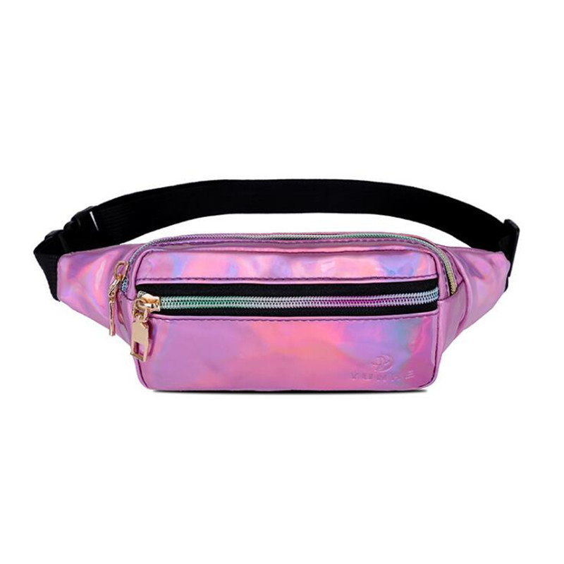 New Laser Shiny Belt Bag Fashion Crossbody Chest Bag Running Sports Bag, High Quality PU Leather Fanny Pack Mini Phone Bag