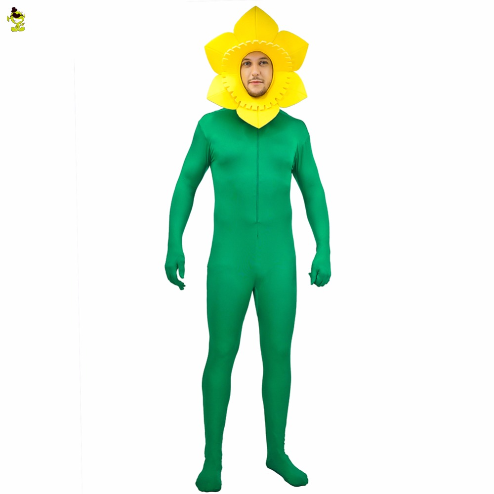 DSPLAY Mens Sunflower Jumpsuit Costume One Size Green