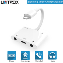 Adapter For Lightning to Voice Beauty Audio Adapter with dual Audio Mirco Port For lightning port for iphone X/8/7/7P/6/6s
