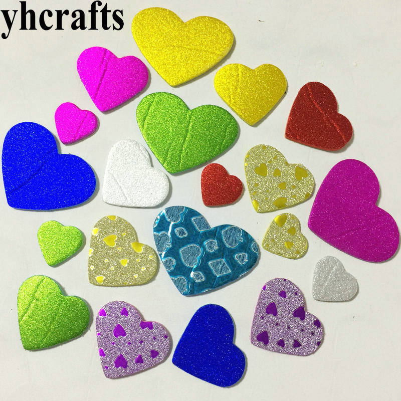 10bags 500pcs /lot.mix New Shiny Hearts Stickers 10 Design Scrapbooking Kit.early Educational Toys Kindergarten Craft Toy Oem Choice Materials