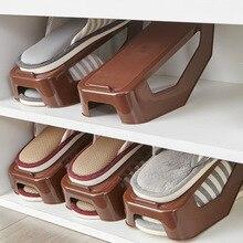 Duplo de plástico Caixa De Sapatos de Armazenamento Sapato Sapateira Prateleira Dupla Sapatos Organizador Armazenamento Doméstico Ajustável Suportes Para Sala de estar
