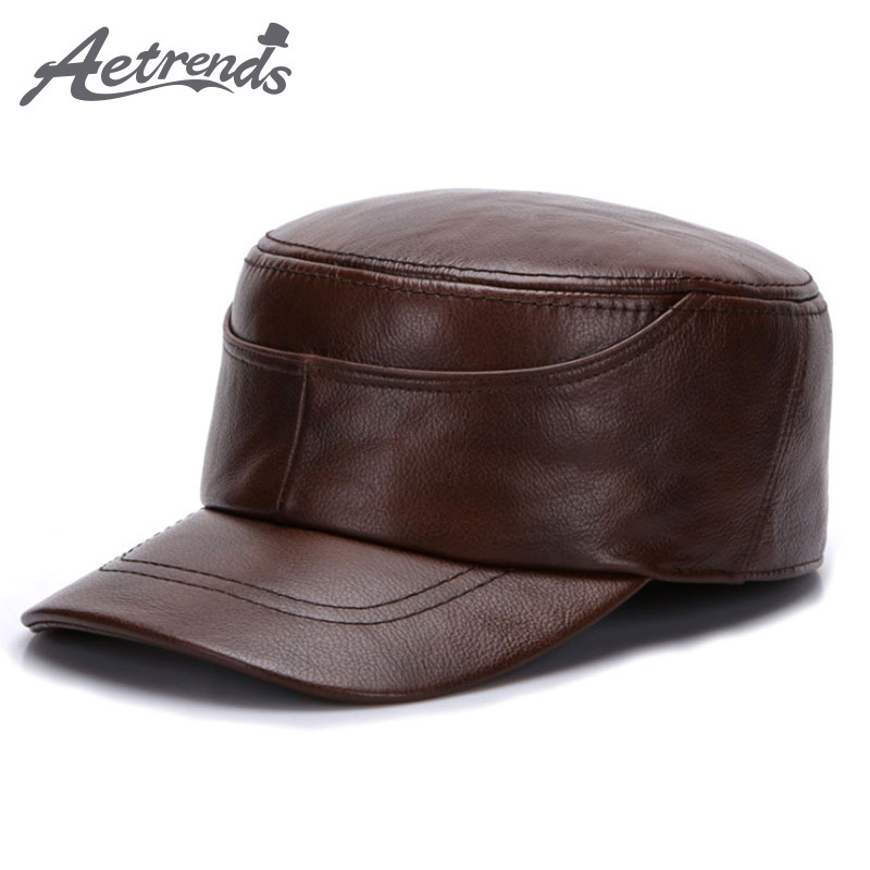 [AETRENDS] 2017 New Winter Dad Hat 100% Genuine Leather Military Hats for Men Flat Cap Captain Army Sailor Caps Z-5492