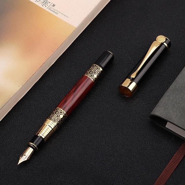 1pcs di Alta qualità classica penna stilografica in legno grano di alta qualità di affari della penna del metallo penna stilografica firma 1