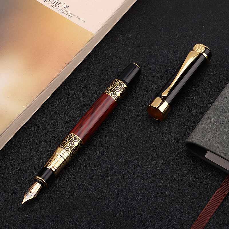 1pcs High Quality Classical Fountain Pen Wood Grain High-grade Business Pen Metal Signature Fountain Pen