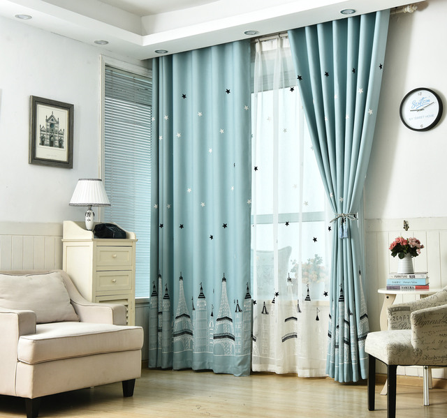 Curtains For Living Dining Room Bedroom Mysterious Romantic Castle Printed  Blue Cutains Blackout Thick Curtains Eiffel