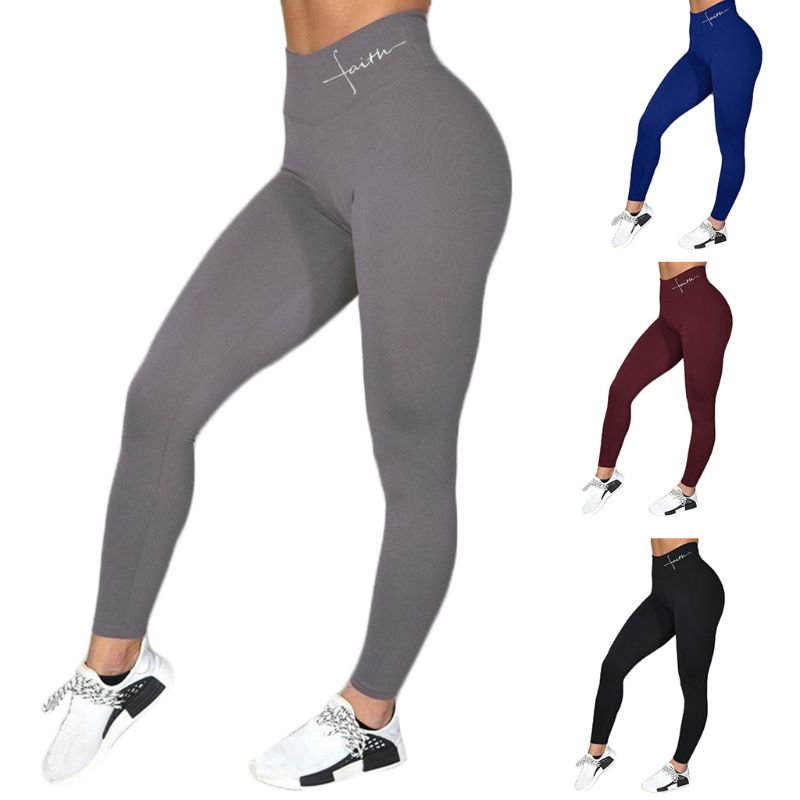 Women Faith Letter Print Wide Waistband Fitness Sexy Butt Lift High Waist Pants Workout Tummy Control Sport Tights