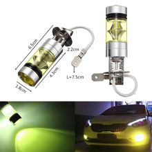 2PCS H3 LED led car foggers Fog Lamp 4300k Yellow 100W 2828 Car Light Bulb DRL 2000LM High-brightness Wholesale