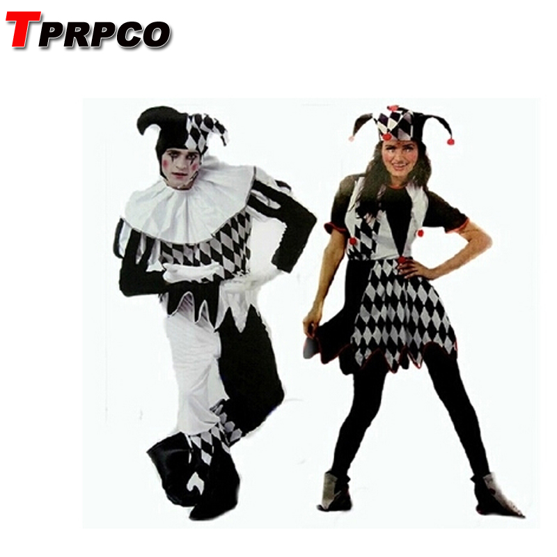 TPRPCO carnival costumes funny fun cosplay clown costume & hat for adults man women innovative set NL1331