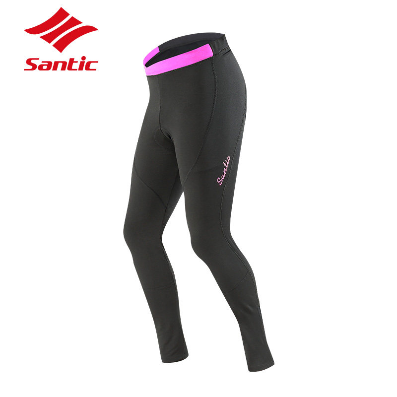 Santic Cycling Pants Women Autumn Winter Windproof Pro Padded Thermal Bike Trousers MTB Road Bicycle Pants Ciclismo Balck santic winter bicycle pants men long length cycling pants windproof bike long riding tights 4d pads road mtb mountian bike pants