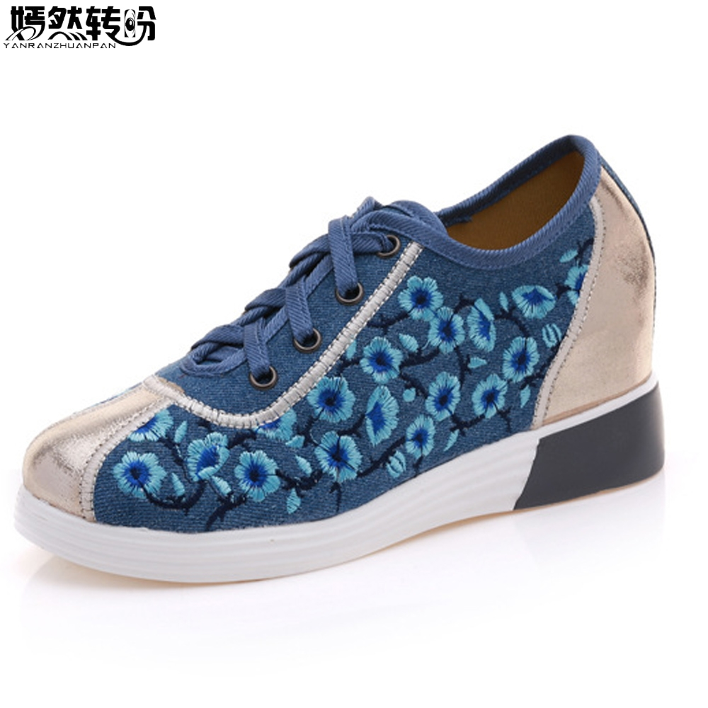 Vintage Women Flats Canvas Floral Embroidery Lace Up Shoes Woman Casual Cloth Faux Leather Platforms Shoes Sapato Feminino wegogo canvas women casual shoes embroidery national casual flat shoe embroidered travel shoes flats sapato feminino bordado