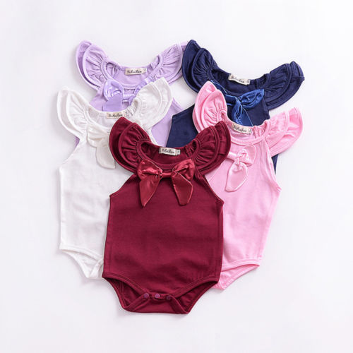 Infant Cute Newborn Baby Girls Solid Cotton Romper Flare Sleeve Summer Sunsuit Outfit ...