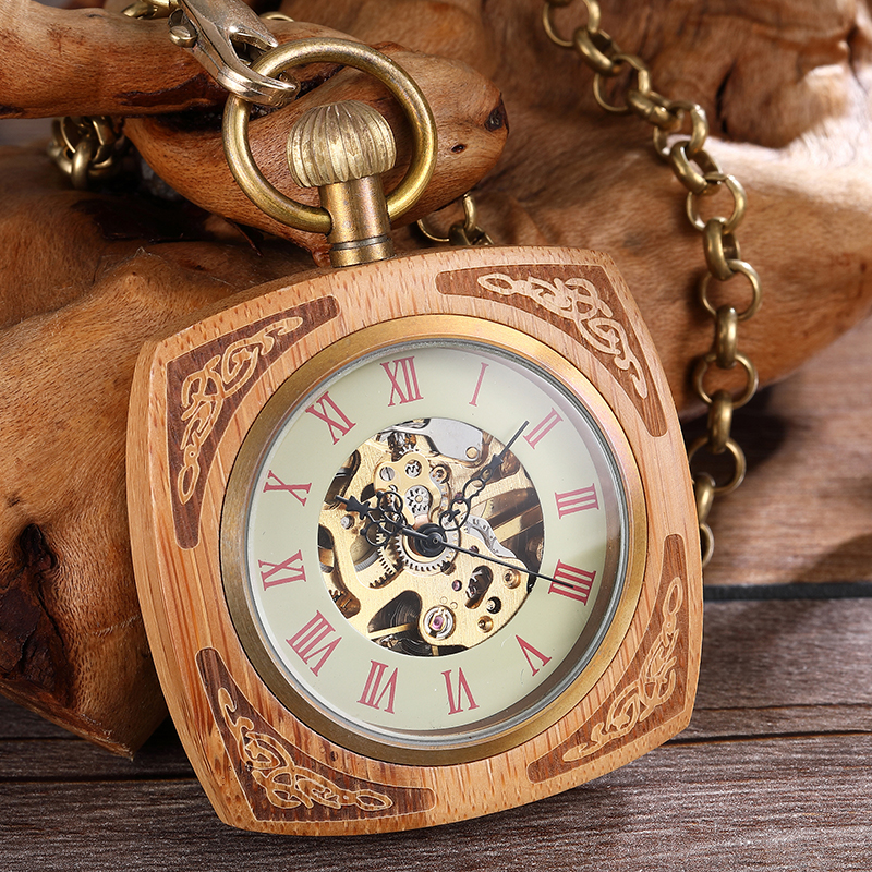 Creativity Wooden Mechanical Pocket Watch Men Women Square Elegant Carving Dial Hollow Skeleton Roman Numerals Steampunk Watches