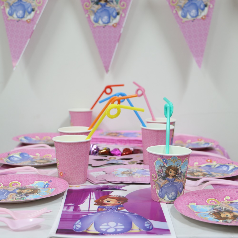 girl kids Birthday party decoration kits paper cups paper plates paper napkins paper mask Sophia festa party supplies 6 people on Aliexpress.com | Alibaba ...  sc 1 st  AliExpress.com & girl kids Birthday party decoration kits paper cups paper plates ...