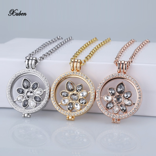 New rose gold pendant necklace interchangeable 35mm coin holder new rose gold pendant necklace interchangeable 35mm coin holder necklace fit my 33mm coins crystal disc aloadofball Choice Image