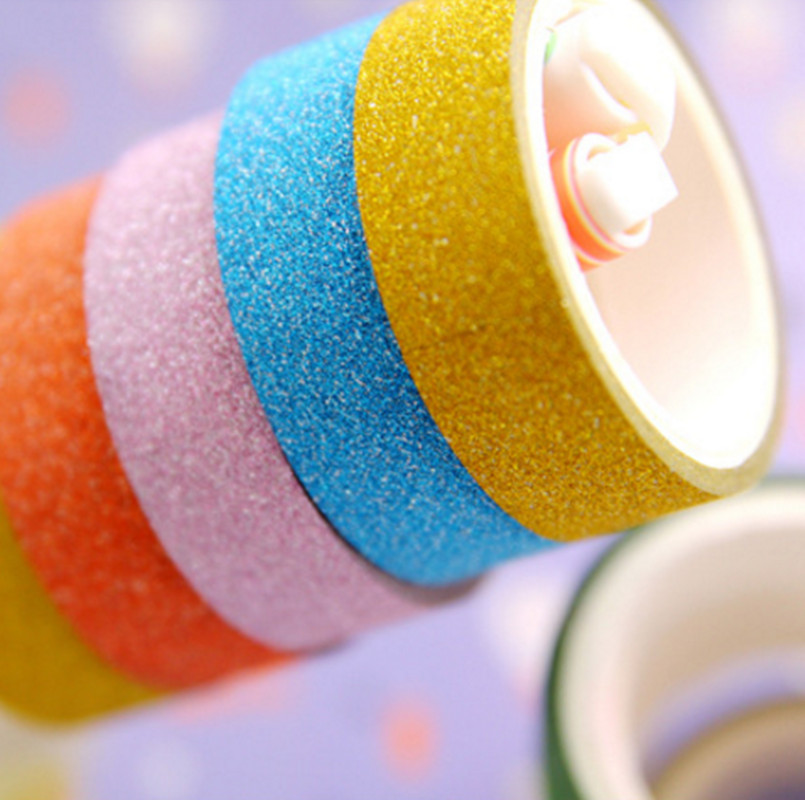 3pcs/set Colored Washi Tape Glitter 4.5*3meter Kawaii Scrapbooking Tools Masking Tape Christmas Photo Album Diy Decorative Tapes