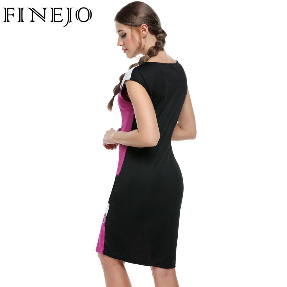 Finejo frauen mode sexy bodycon dress vestidos geometrische patchwork - Damenbekleidung - Foto 4