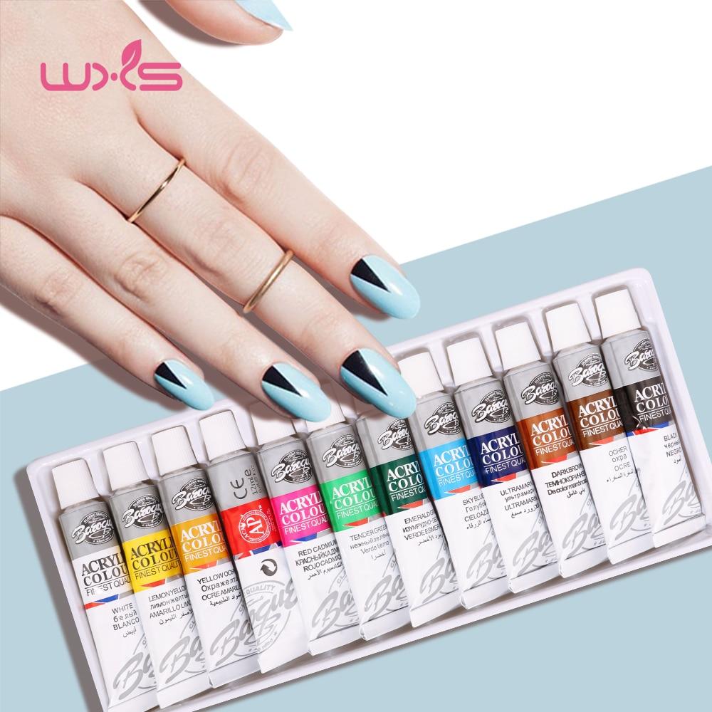 12Colors/lot Painting Gel Drawing Pigment Acrylic Gel UV Nail Polish For Nail Art Decoration Color Paint Drawing Pigment Kit nail art drawing
