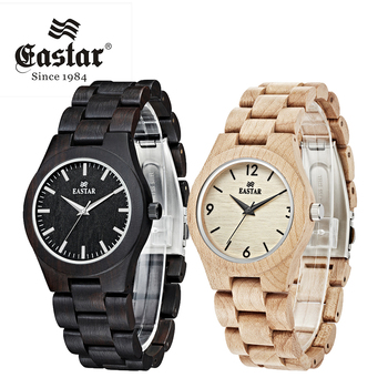 Eastar Women Wooden Watch Analog Quartz Lightweight Handmade Wood Wrist Watch With black Wooden Face Japanese movement
