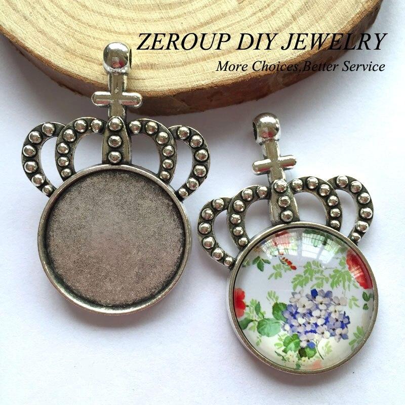 ZEROUP 5 unids/lote 25mm Cabujón de Cristal Colgante de Collar de Ajuste de Bron