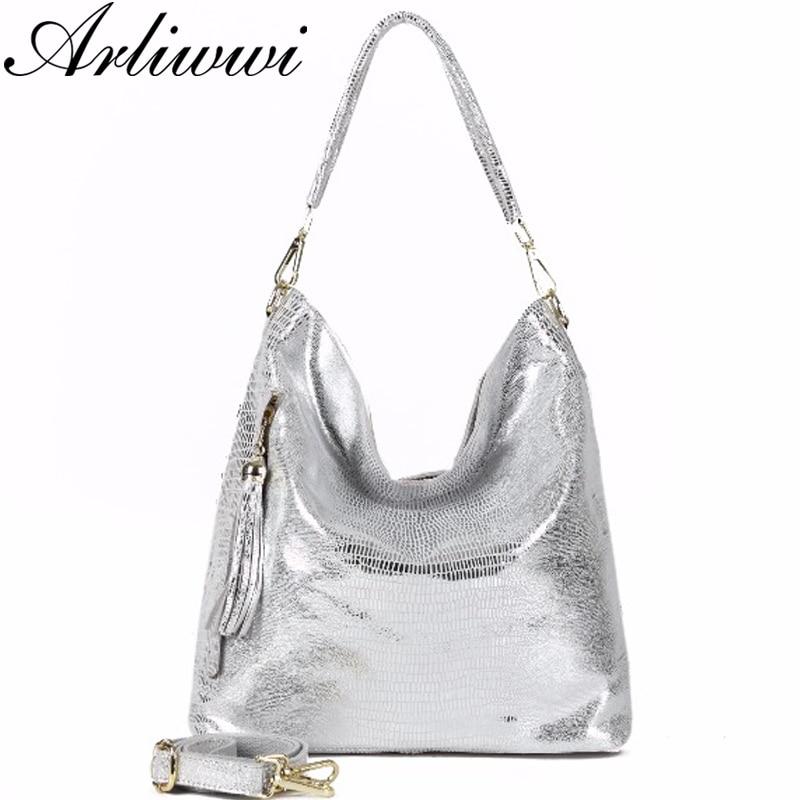 Arliwwi Brand Designer 100 Real Leather Soft Hobos Women Shoulder Bags High Quality Beige Silver Gold