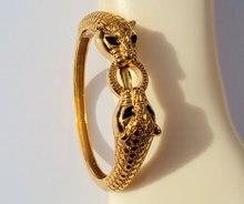 Leopardo negro ojos 22 K 23 k 24 K baht tailandés sólido amarillo joyería del GP del oro pulsera brazalete pesado 43G BA18