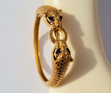 Leopard Black Eyes 22K 23K 24K Thai Baht Yellow Solid Gold GP Jewelry Bangle Bracelet Heavy 43G BA18(China)