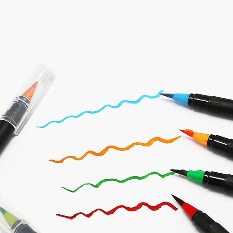 1 piezas 20 Color acuarela pluma de la cabeza del cepillo de pintura de agua del grifo de la pluma creativa plumas de caligrafía de mano dibujo cepillo para niño niña