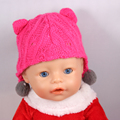 Baby Born Doll Hat Fit 43cm Baby Born Zapf Doll Toys Hot Pink Doll Hats With Ears And Balls Doll Headwear A35