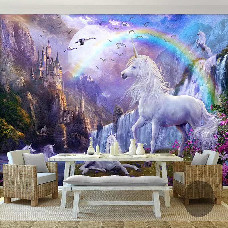 Custom 3D Photo Wallpaper Mural Papel De Parede Rainbow Waterfall White Horse Landscape Oil Painting Wall Paper For Living Room